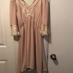 Blush pink shirt lace dress